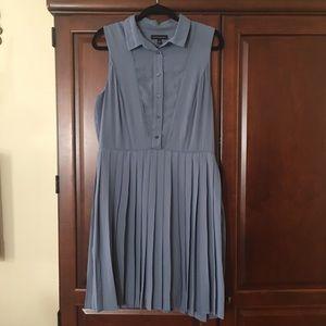 Dusty blue pleated skirt dress